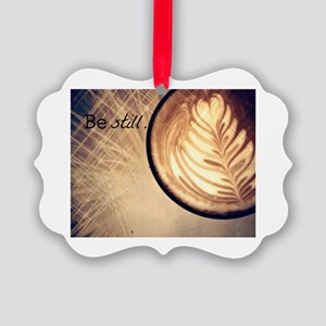 Be Still latte art Picture Ornament