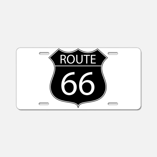 Route 66 Road Sign Aluminum License Plate