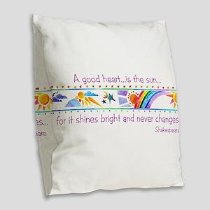 A good heart Burlap Throw Pillow