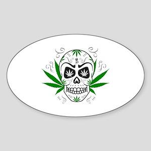 Skull ganja logo 3c Sticker