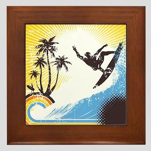 Retro Surfer Framed Tile