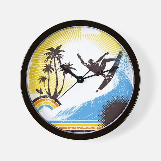 Retro Surfer Wall Clock