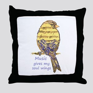Music Gives my Soul Wings Throw Pillow