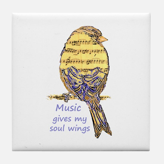 Music Gives my Soul Wings Tile Coaster