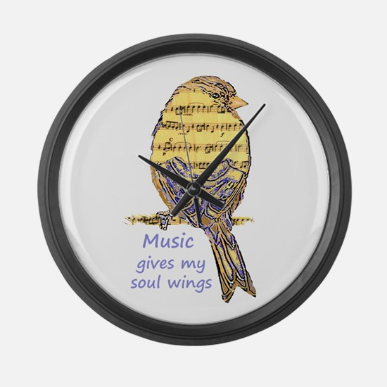 Music Gives my Soul Wings Large Wall Clock