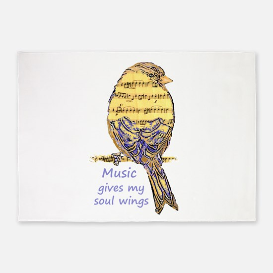 Music Gives my Soul Wings 5'x7'Area Rug