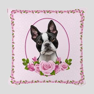Boston Pink Roses Woven Throw Pillow