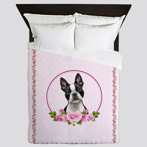Boston pink roses Queen Duvet
