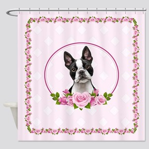 Boston pink roses Shower Curtain