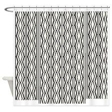 Cream Black Classic Pattern Shower Curtain
