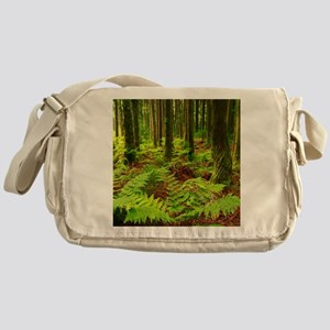 Ferns in the forest Messenger Bag