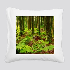 Ferns in the forest Square Canvas Pillow