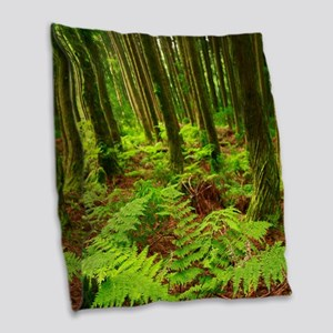 Ferns in the forest Burlap Throw Pillow