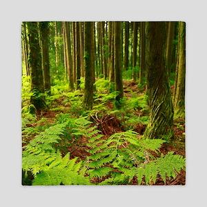 Ferns in the forest Queen Duvet