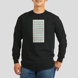Cute Mint Floral Long Sleeve Dark T-Shirt
