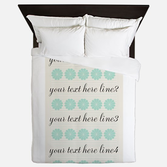 Cute Mint Floral Queen Duvet