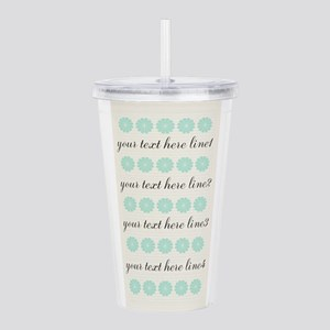 Cute Mint Floral Acrylic Double-wall Tumbler