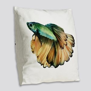Mustard Betta Burlap Throw Pillow