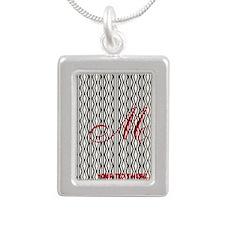 Vintage Style Monogram Silver Portrait Necklace