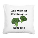 Christmas Broccoli Square Canvas Pillow