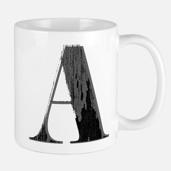 Grungy artistic letter A in black and grey tone Mu