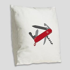 Swiss Army Knife Burlap Throw Pillow