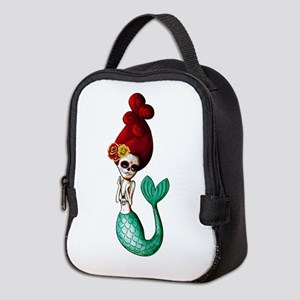 El Dia de Los Muertos Mermaid Neoprene Lunch Bag