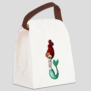 El Dia de Los Muertos Mermaid Canvas Lunch Bag