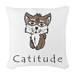 Catitude Woven Throw Pillow
