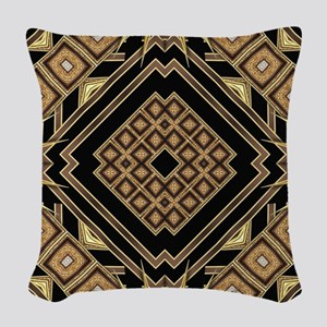 Art Deco Black Gold 1 Woven Throw Pillow