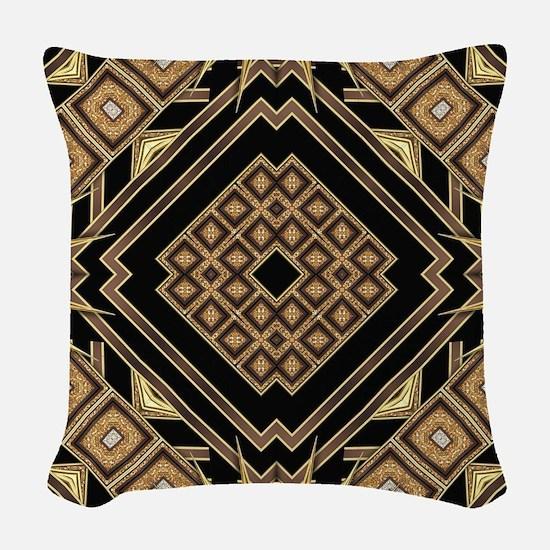 Art Deco Black Gold 1 Woven Throw Pillow