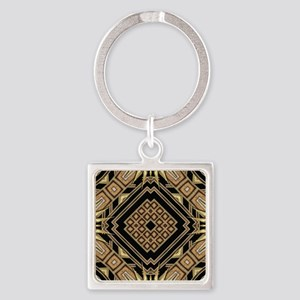 Art Deco Black Gold 1 Square Keychain