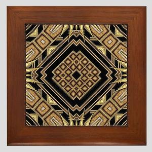 Art Deco Black Gold 1 Framed Tile