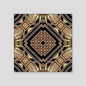 """Art Deco Black Gold 1 Square Sticker 3"""" x 3"""""""
