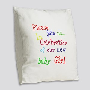 Personalize Boy/Girl Join Us Burlap Throw Pillow