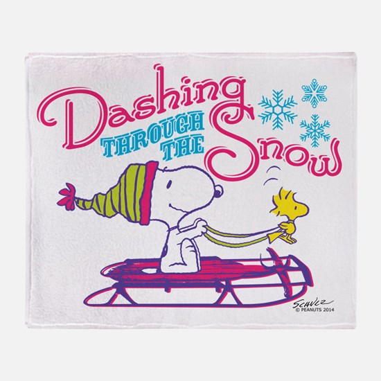 Snoopy and Woodstock Dashing Through Throw Blanket