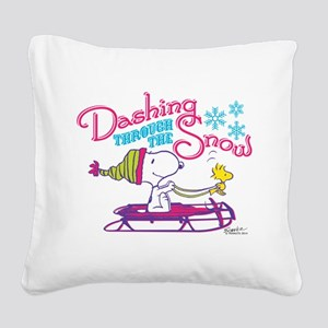 Snoopy and Woodstock Dashing Square Canvas Pillow