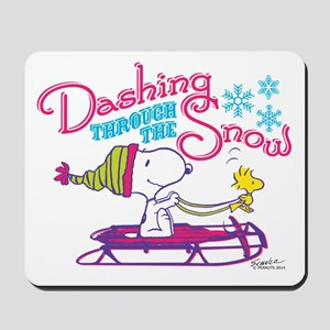 Snoopy and Woodstock Dashing Through Sno Mousepad