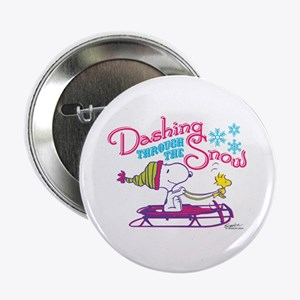 """Snoopy and Woodstock Dashing Through 2.25"""" Button"""