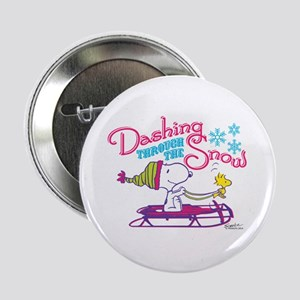 "Snoopy and Woodstock Dashing Through 2.25"" Button"
