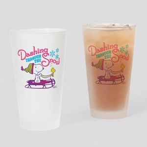 Snoopy and Woodstock Dashing Throug Drinking Glass