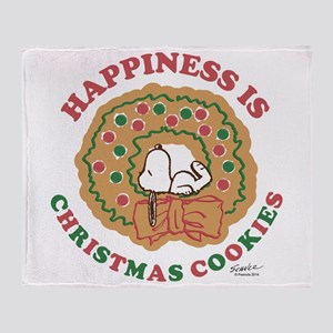 Snoopy:Hapiness is Christmas Cookies Throw Blanket