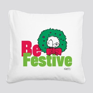 Snoopy: Be Festive Square Canvas Pillow