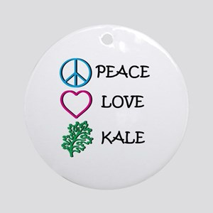 Peace Love Kale Round Ornament