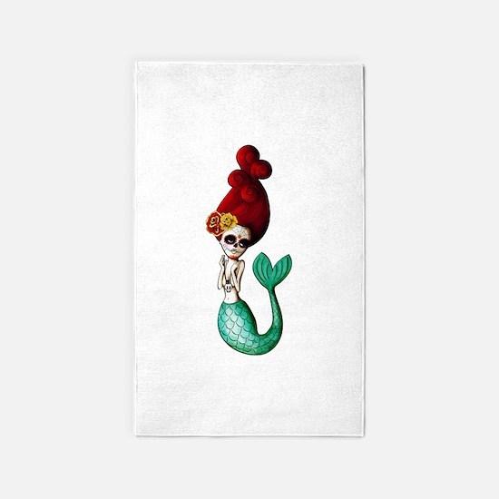 El Dia de Los Muertos Mermaid 3'x5' Area Rug