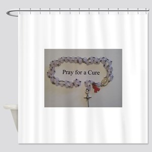 Pink Rosary with Pink Ribbon Charm Shower Curtain