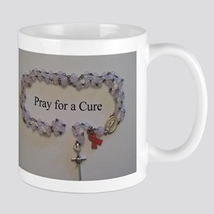 Pink Rosary with Pink Ribbon Charm Mugs