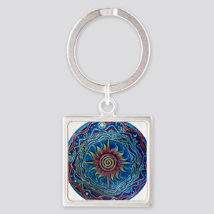 Summer Four Elements Mandala Square Keychain