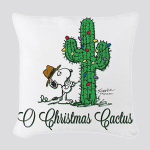 O Christmas Cactus Woven Throw Pillow