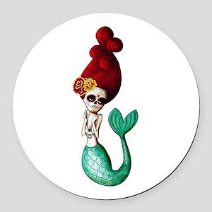 El Dia de Los Muertos Mermaid Round Car Magnet